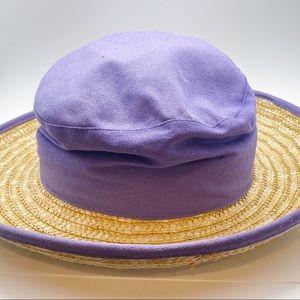 Vintage Gitano Purple Cloth and Straw Hat 90s